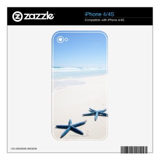 Two blue starfish at water's edge on tropical decals for the iPhone 4