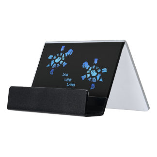 Two Blue Water Turtle Desk Business Card Holder