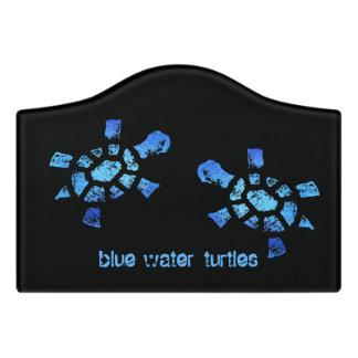 Two Blue Water Turtles Door Sign