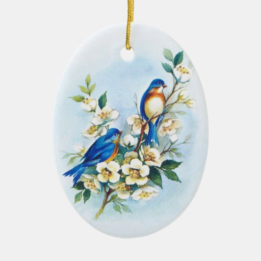 Two Bluebirds Christmas Tree Ornaments