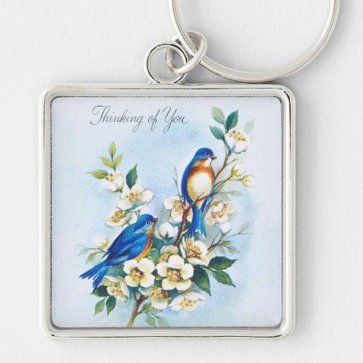 Two Bluebirds Key Chain
