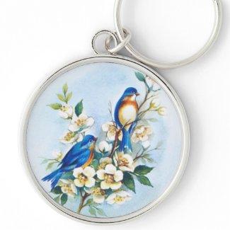 Two Bluebirds zazzle_keychain