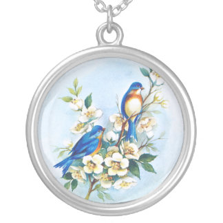 Two Bluebirds Round Pendant Necklace