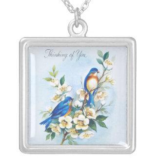 Two Bluebirds Square Pendant Necklace