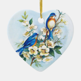 Two Bluebirds Double-Sided Heart Ceramic Christmas Ornament
