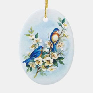 Two Bluebirds Double-Sided Oval Ceramic Christmas Ornament