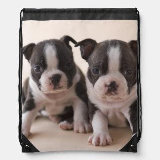 Two Boston Terrier Puppies Drawstring Bag