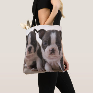 Two Boston Terrier Puppies Tote Bag