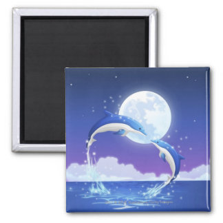 Two bottle-nosed dolphins jumping out of water 2 inch square magnet