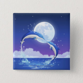 Two bottle-nosed dolphins jumping out of water pinback button