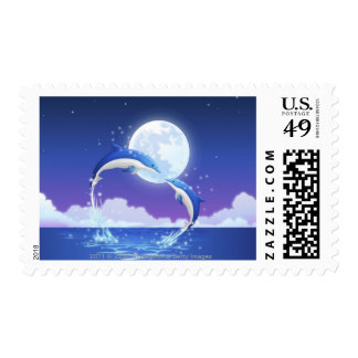 Two bottle-nosed dolphins jumping out of water postage