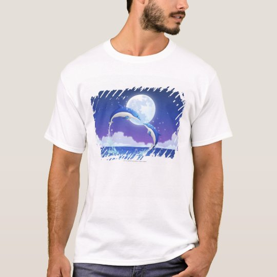 Two bottle-nosed dolphins jumping out of water T-Shirt