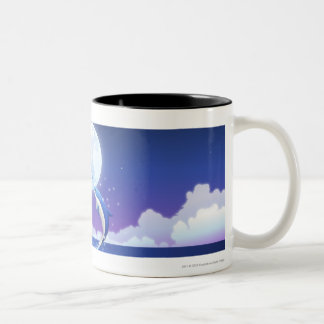 Two bottle-nosed dolphins jumping out of water Two-Tone coffee mug