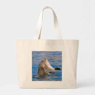 Two bottlenose dolphins large tote bag