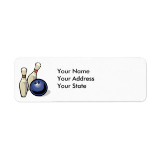 two bowling pins and bowling ball design label