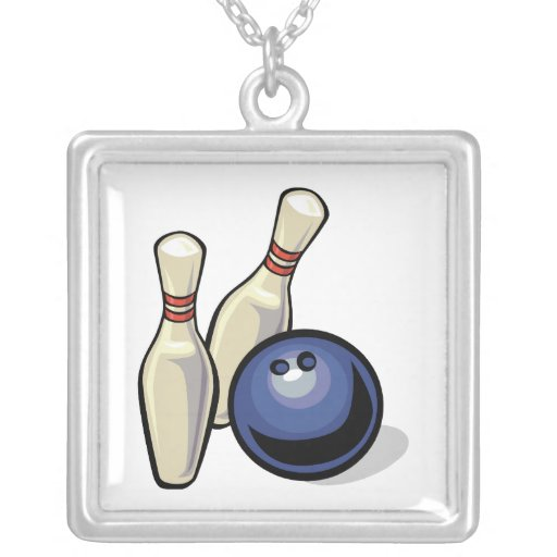 two bowling pins and bowling ball design necklace
