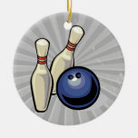 two bowling pins and bowling ball design christmas tree ornaments