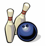 two bowling pins and bowling ball design photo cut outs