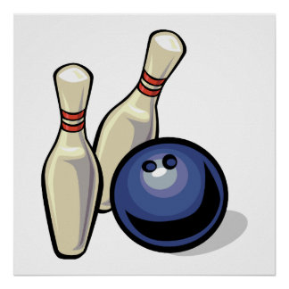 two bowling pins and bowling ball design poster