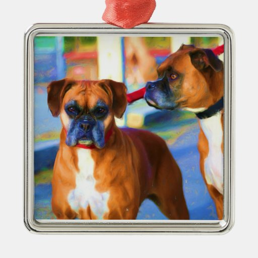 Two Boxer dogs ornament