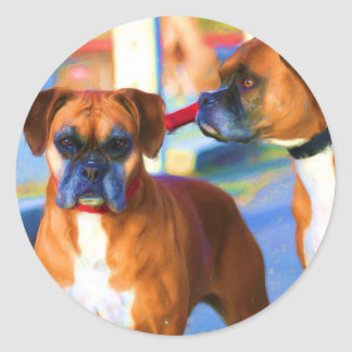 Two Boxers Art stickers