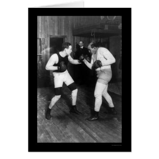 Two Boxers, Jeffries and Berger, Sparring 1909 Card