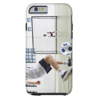 Two boys, aged 8-9, playing soccer in a school tough iPhone 6 case