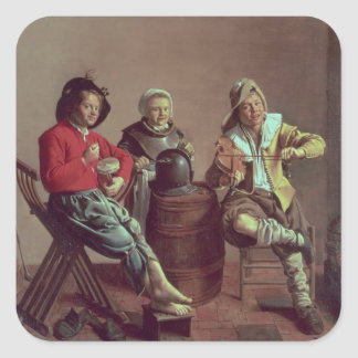 Two Boys and a Girl Making Music, 1629 Square Sticker