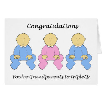 Two boys and a girl triplets for Grandparents. Card