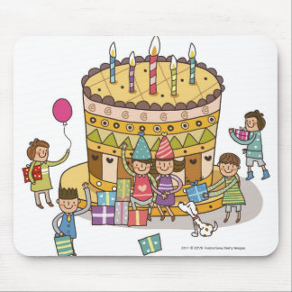 Two boys and three girls in a birthday party mouse pad