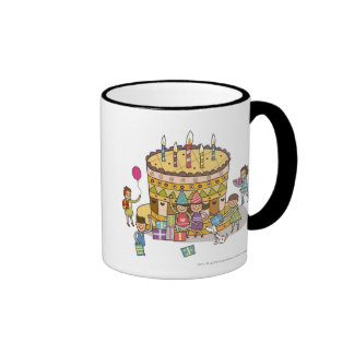 Two boys and three girls in a birthday party coffee mugs