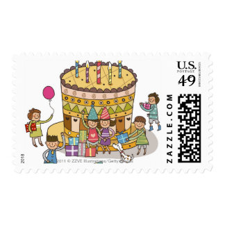 Two boys and three girls in a birthday party stamps