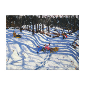 Two boys falling off a sledge Morzine Canvas Print