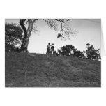 Two boys flying kite on hill B&W Card