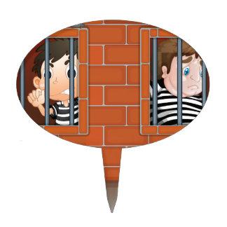 Two boys inside the jail cake picks