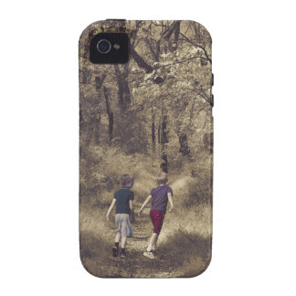Two Boys On a Forest Path Case For The iPhone 4