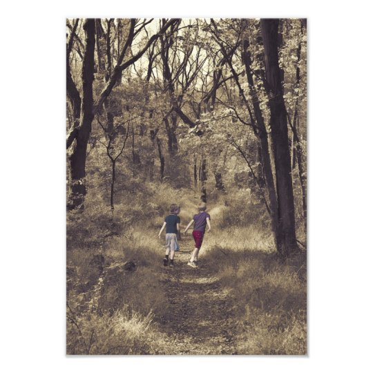 Two Boys On a Forest Path Photo Print