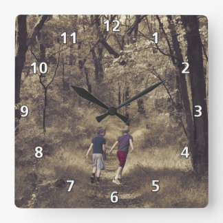 Two Boys On a Forest Path Square Wall Clock