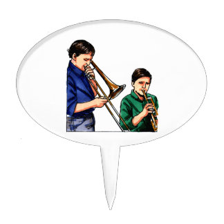 Two boys playing brass instruments template cake topper