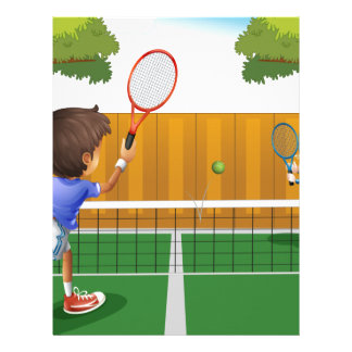 Two boys playing tennis inside the fence customized letterhead