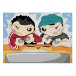Two Boys Playing Video Game - Poster
