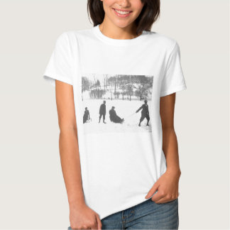 Two Boys Pulling Two Girls on Sleds T-Shirt