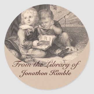 Two boys reading Vintage Bookplate Classic Round Sticker