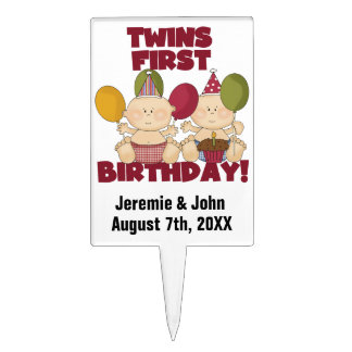Two Boys Twins First Birthday Cake Topper