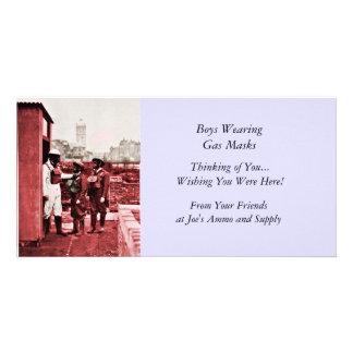 Two Boys Wearing Gas Masks Photo Greeting Card