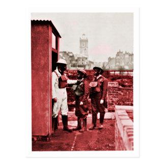 Two Boys Wearing Gas Masks Postcard