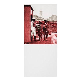 Two Boys Wearing Gas Masks Rack Card
