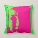 Two Branching Out buddha face hot pink Throw Pillow