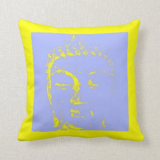 Two Branching Out buddha head green purple Throw Pillow