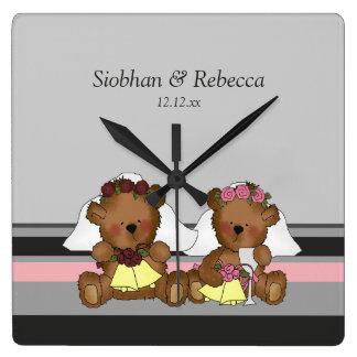 Two Bride Teddy Bears Square Wallclocks